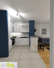 przedpokój_projekt z barkiem_widok na kuchnię
