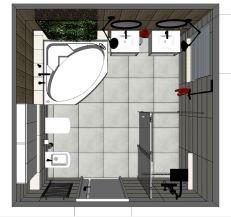 łazienka przy sypialni domu_rzut z góry